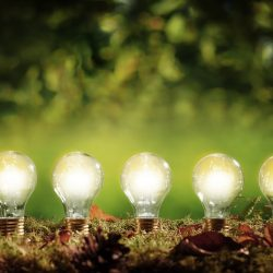 Five lit bulbs