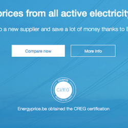 Overview of the home page of the Energyprice.be website