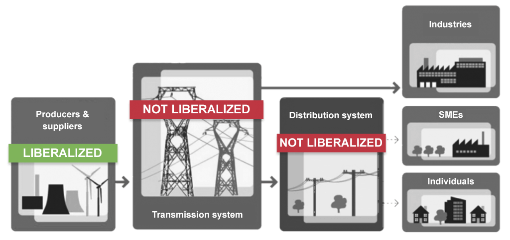 Diagram showing the levels at which market liberalization has taken place
