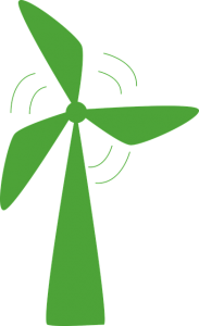 Green suppliers invest in energy sources such as wind turbines.