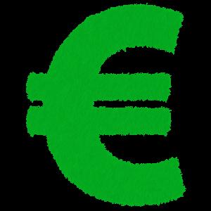 A green euro symbol