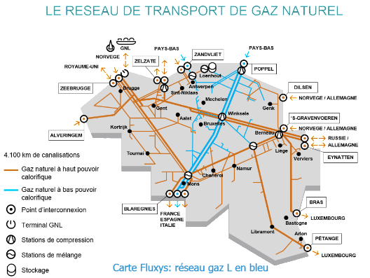 The natural gas transport network in Belgium